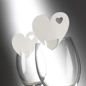 Tischkarte Herz Creme