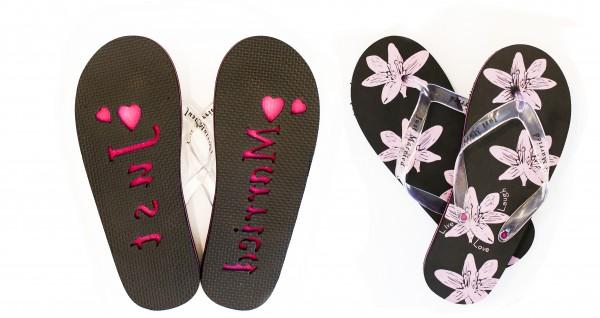 Flip Flops Blumen Schwarz