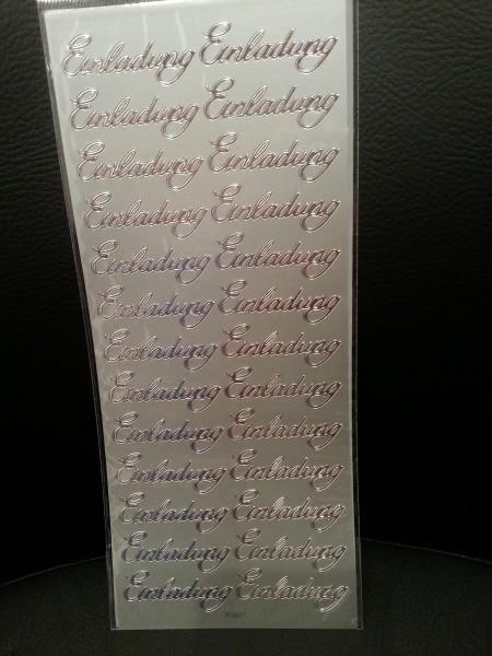 Sticker Einladung Silber