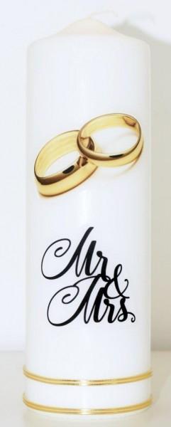 Hochzeitskerze Goldene Ringe