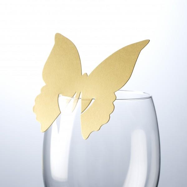 Tischkarte Schmetterling Gold