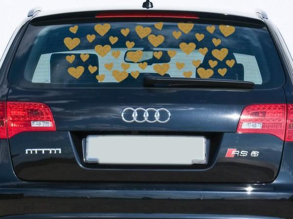Autoaufkleber Herzen Gold groß