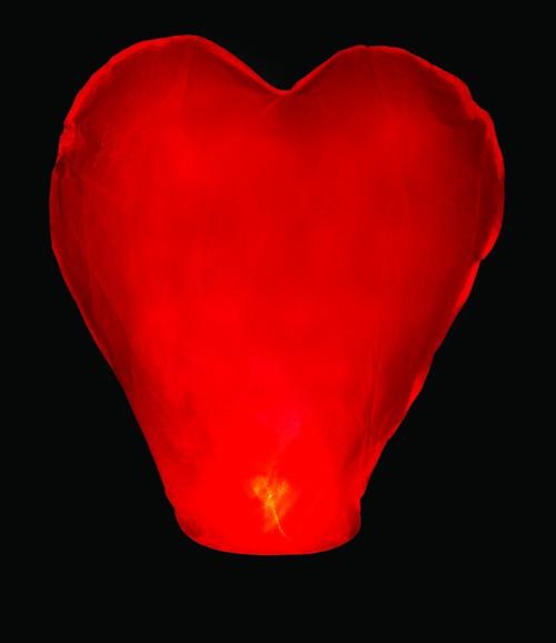 Himmelslaterne Herz Rot