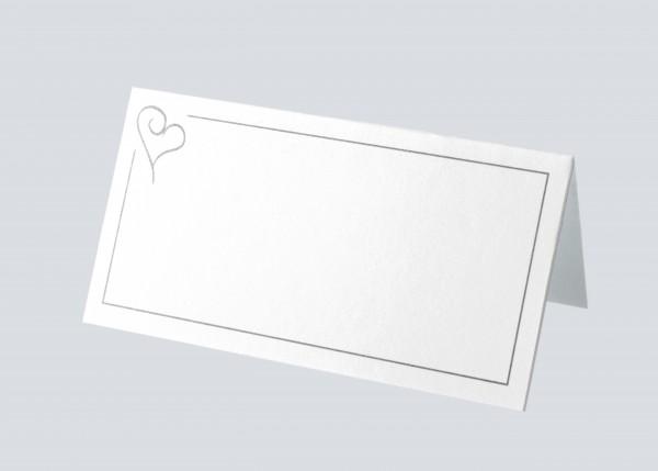 Tischkarte Simple Herz Silber