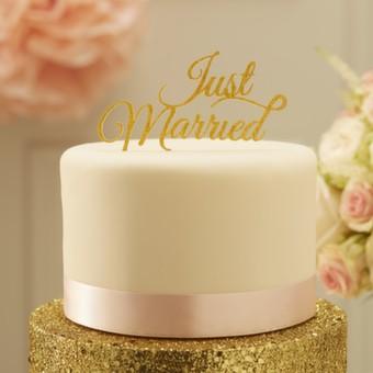 Tortendeko Just Married - Silber oder Gold