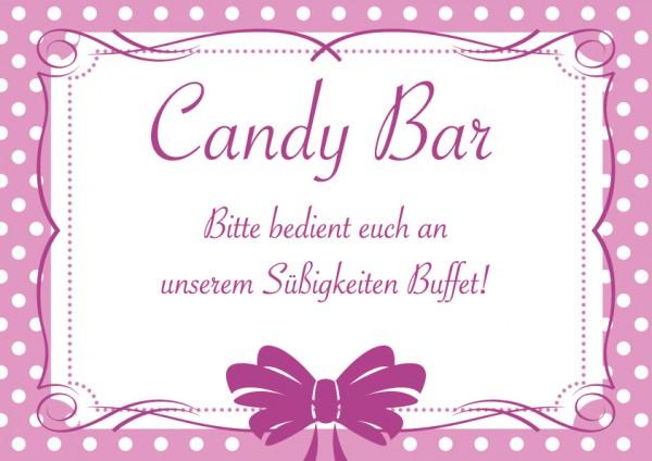 Candybar Schild Rosa