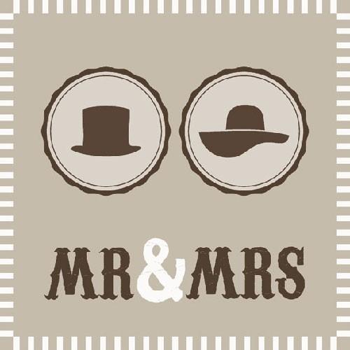 Servietten Mr. & Mrs.