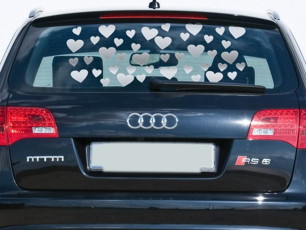 Autoaufkleber Herzen Silber klein