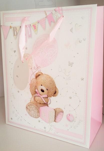 Geschenksackerl Teddybär Rosa