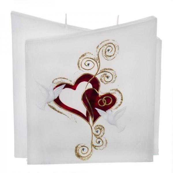 Hochzeitskerze Rot-Gold - Quader