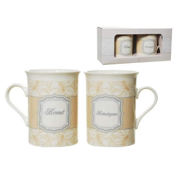 Kaffeebecherset Hochzeitstauben
