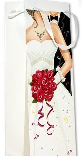 Geschenksackerl Flasche Brautstrauß