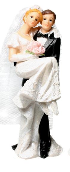 Tortenfigur Braut auf Händen Links