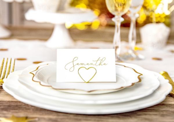 Tischkartenhalter Herz Gold1