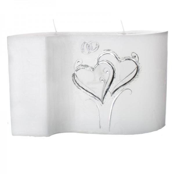 Hochzeitskerze Silberne Herzen - Welle