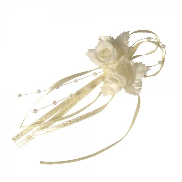 Hochzeitsanstecker Röschen Creme