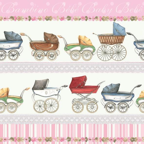 Serviette Kinderwagen Rosa