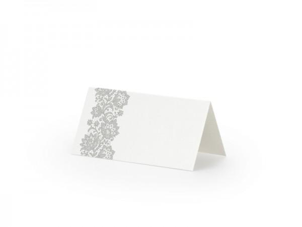 Tischkarte Silberblumen