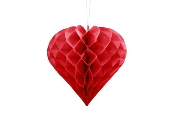 Wabenball Herz Rot