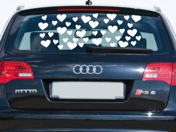Autoaufkleber Herzen Weiß klein