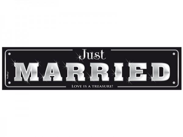 Nummernschild Just Married Schwarz