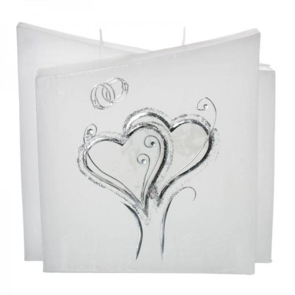 Hochzeitskerze Silberne Herzen - Quader