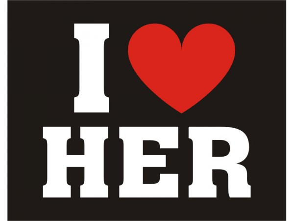 I LOVE HER Sticker