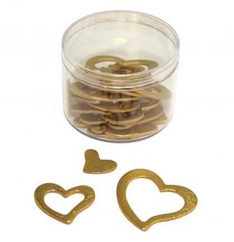 Holz-Dekostreuteile Herzen Gold/Silber