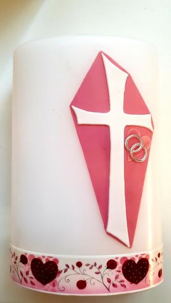 Hochzeitskerze Kreuz Rosa