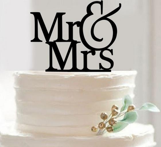 Tortendeko Mr. & Mrs. Elegant Schwarz