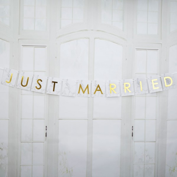 Autobanner Just Married - Marmor
