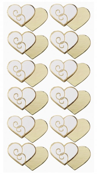 Sticker Doppelherzen Gold