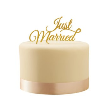 Tortendeko Just Married - Silber oder Gold