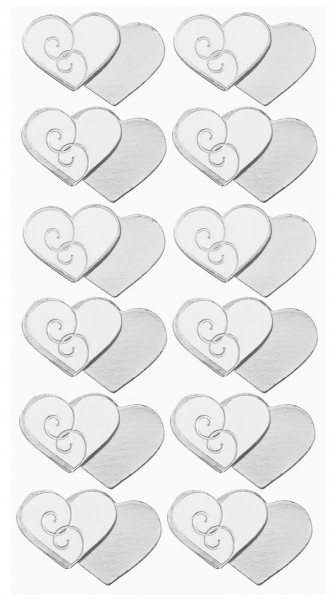 Sticker Doppelherzen Silber