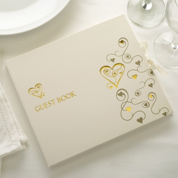 Gästebuch Herzchen Gold