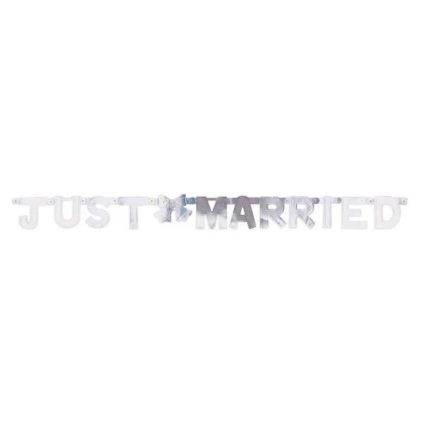 Banner Just Married - Silber