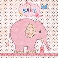 Servietten rosa Elefant