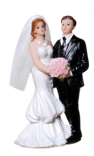 Tortenfigur Brautpaar mit Brautstrauss
