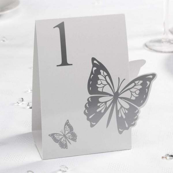 Tischnummer Schmetterling Silber
