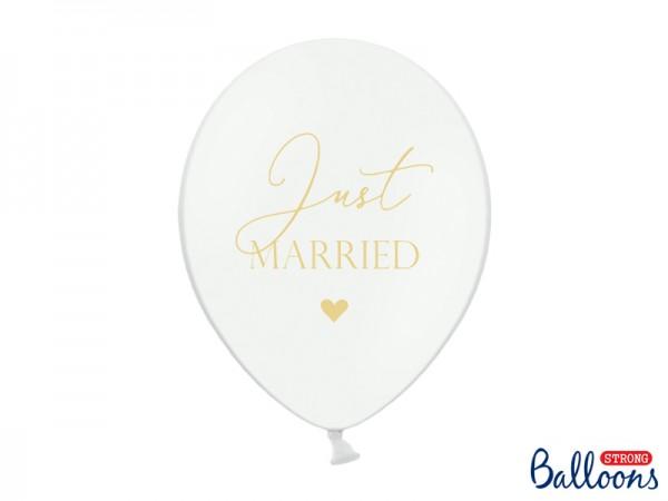 Luftballons Just Married Weiß